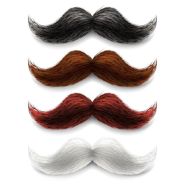 Conjunto de colores de bigotes falsos vector gratuito
