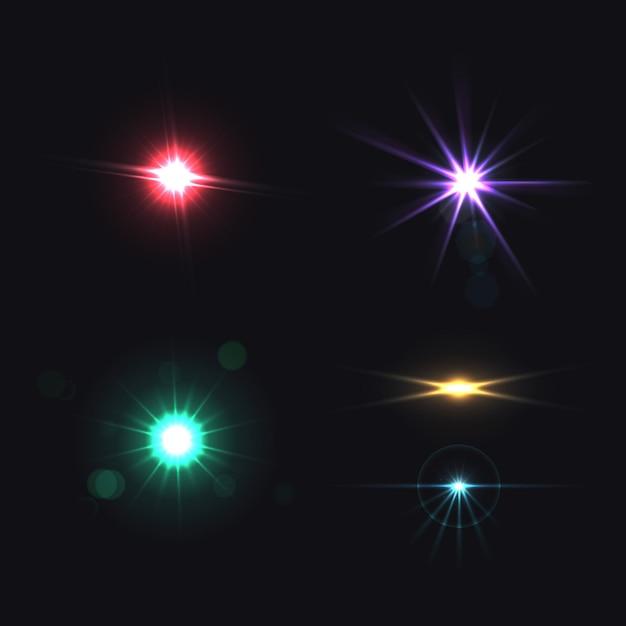 Conjunto de colores realistas de efectos brillantes de lente aislado vector gratuito