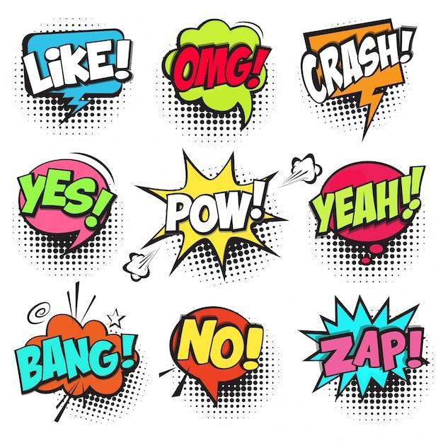 Conjunto de coloridas burbujas de texto de cómic vector gratuito