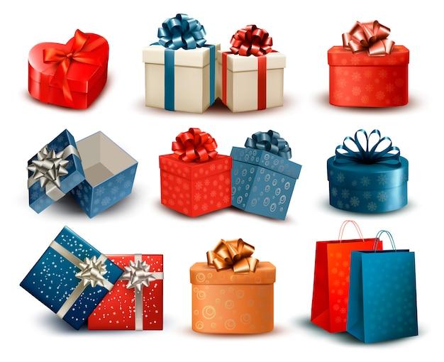 Conjunto de coloridas cajas de regalo retro con arcos y cintas. ilustración Vector Premium