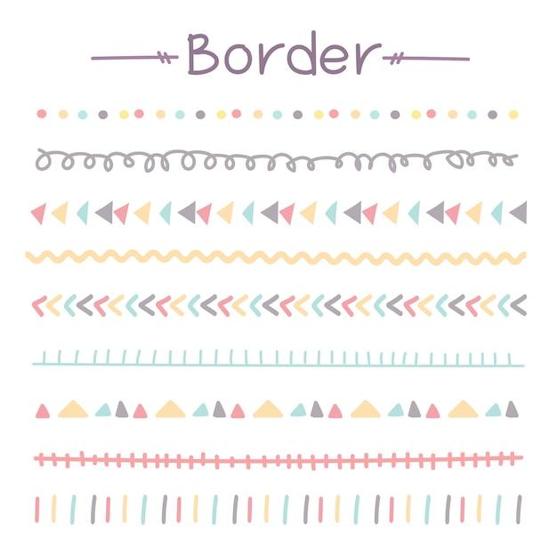 Conjunto de coloridas fronteras de doodle Vector Premium