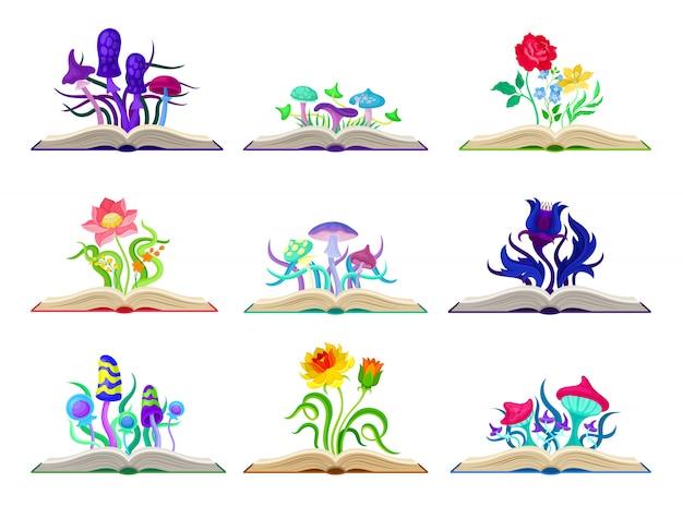 Conjunto de coloridas setas y flores. ilustración sobre fondo blanco. Vector Premium