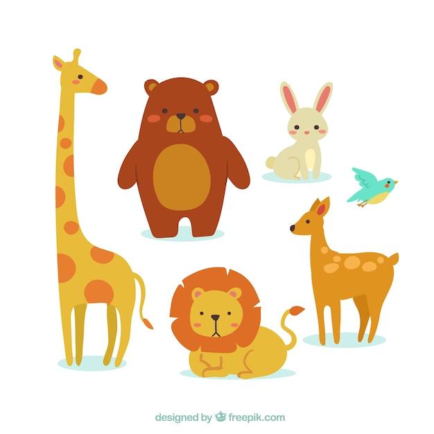 Conjunto colorido de animales con diseño plano vector gratuito