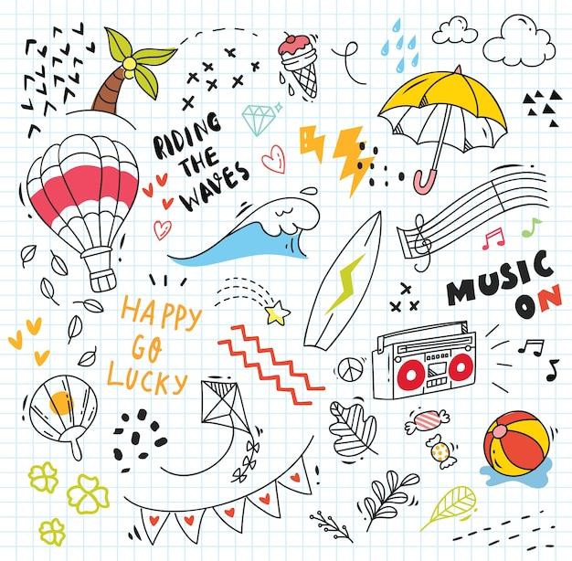 Conjunto de colorido doodle sobre papel Vector Premium