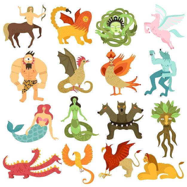 Conjunto colorido de personajes de criaturas míticas vector gratuito