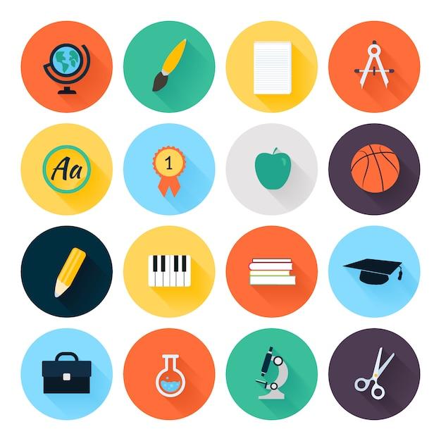 Conjunto de coloridos iconos de escuela y educación planas Vector Premium