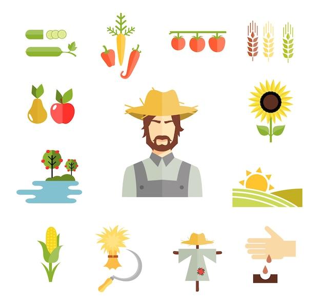 Conjunto de coloridos iconos de granja de vectores para cultivar granos, frutas y verduras con un agricultor vector gratuito