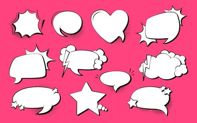 Conjunto de cómic pop art de burbujas de discurso, explosión. fondo de punto de semitono de elementos de diseño vacío retro de los años 80-90 Vector Premium