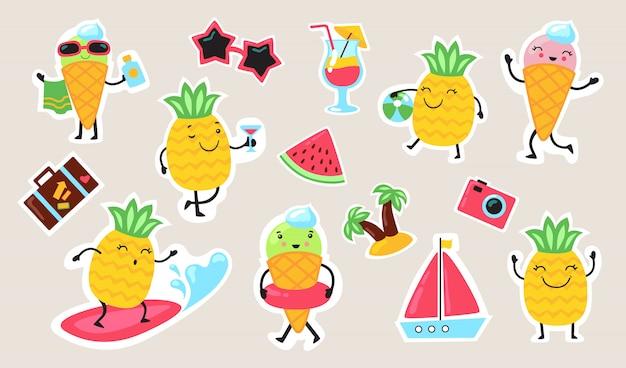 Conjunto de comida y actividades de verano vector gratuito