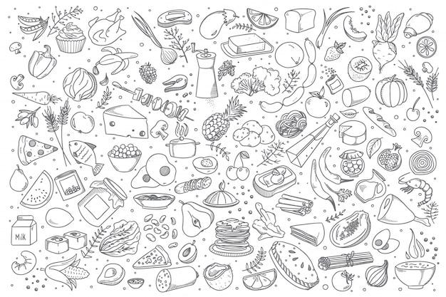 Conjunto de comida doodle Vector Premium
