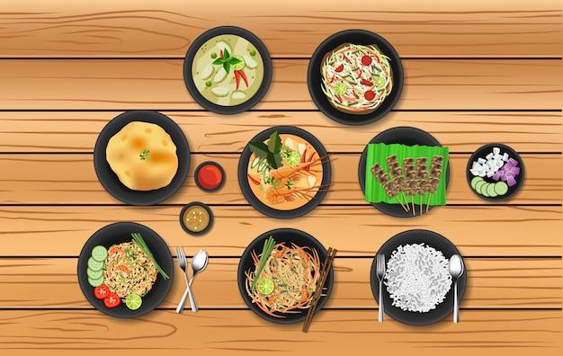 Conjunto de comida popular tailandesa Vector Premium