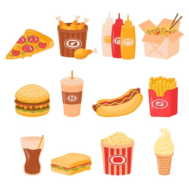 Conjunto de comida rápida para el almuerzo o el desayuno de comida callejera aislado sobre fondo blanco. Vector Premium