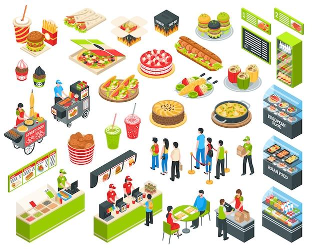 Conjunto de comida rápida isométrica cort vector gratuito
