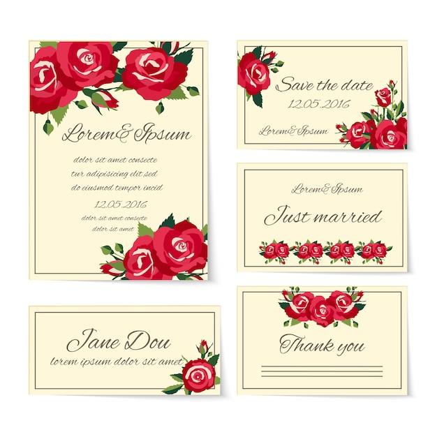 Conjunto completo de plantillas de tarjetas de boda que cubren tarjetas de invitación gracias a los recién casados nombrar el lugar y guardar la fecha decorada con elegantes rosas rojas que simbolizan el amor y el romance vector gratuito