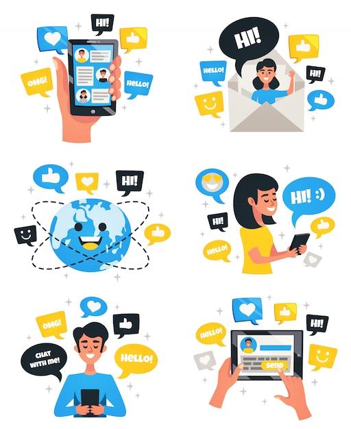 Conjunto de composición de composiciones de comunicación de chat vector gratuito