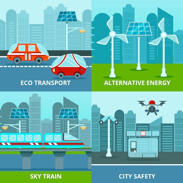 Conjunto de composición ecológica urbana vector gratuito