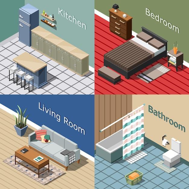 Conjunto de composición isométrica interior residencial vector gratuito