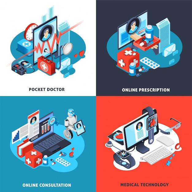 Conjunto de composición isométrica de salud digital vector gratuito