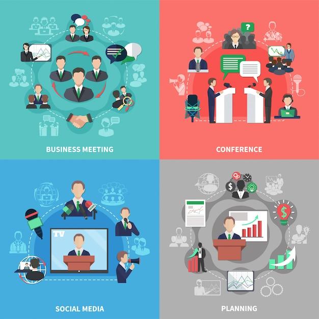 Conjunto de composición de reuniones de negocios vector gratuito