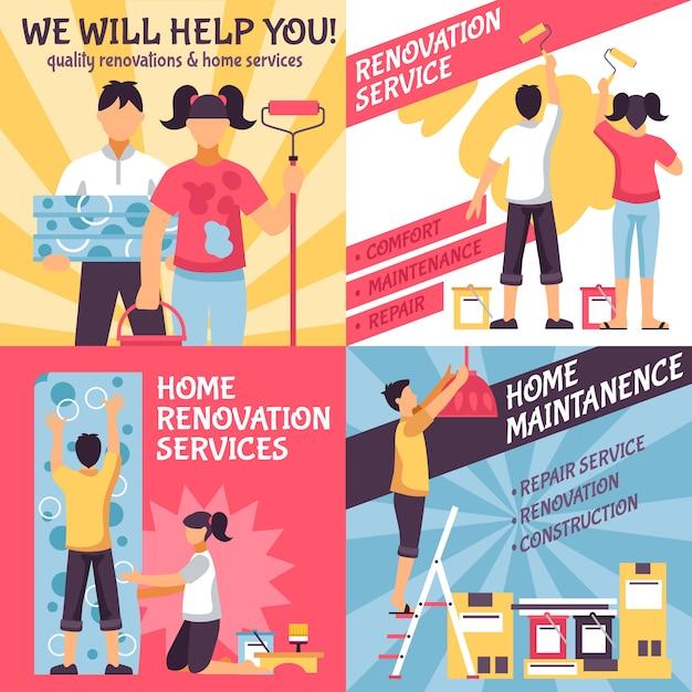 Conjunto de composiciones publicitarias de renovación. vector gratuito