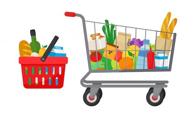 Conjunto de compra de abarrotes. cesta de la compra y carro con productos. Vector Premium