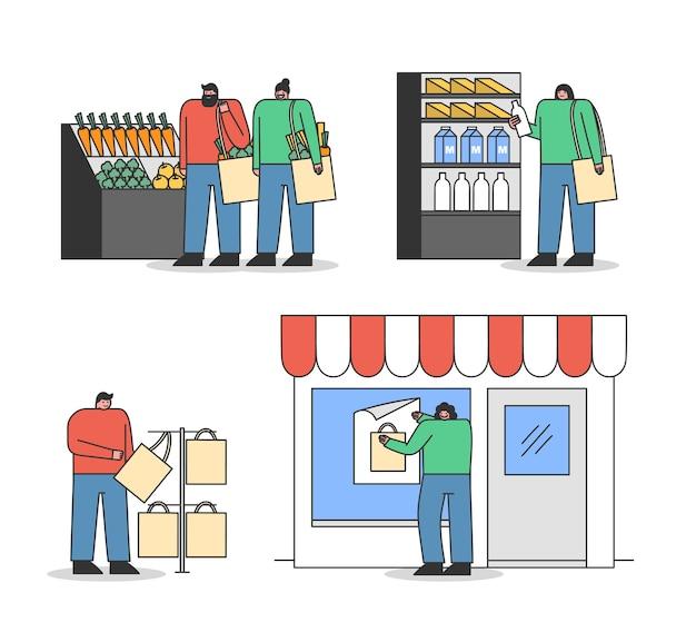 Conjunto de compradores de dibujos animados con bolsas ecológicas. la gente compra comestibles y usa bolsos de reciclaje en el supermercado Vector Premium