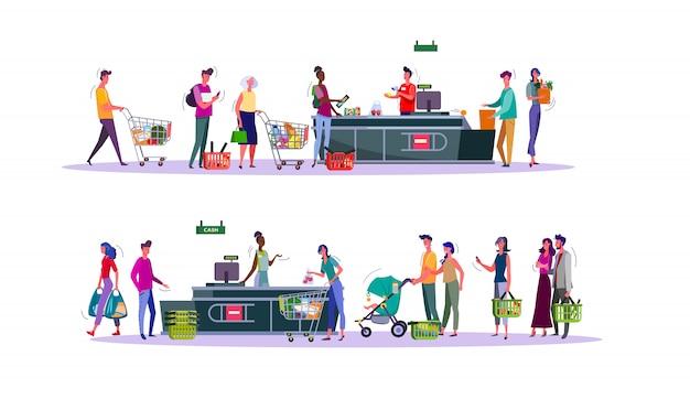 Conjunto de compradores que pagan por compras en la caja del supermercado vector gratuito