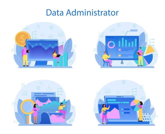 Conjunto de concepto de administrador de base de datos. personaje femenino y masculino que trabaja en el centro de datos. Vector Premium