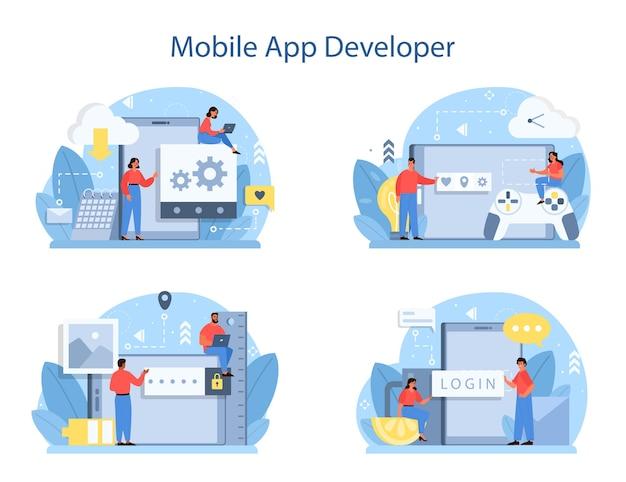 Conjunto de concepto de desarrollo de aplicaciones móviles. Vector Premium