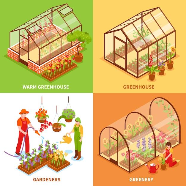 Conjunto de concepto de diseño de invernadero vector gratuito