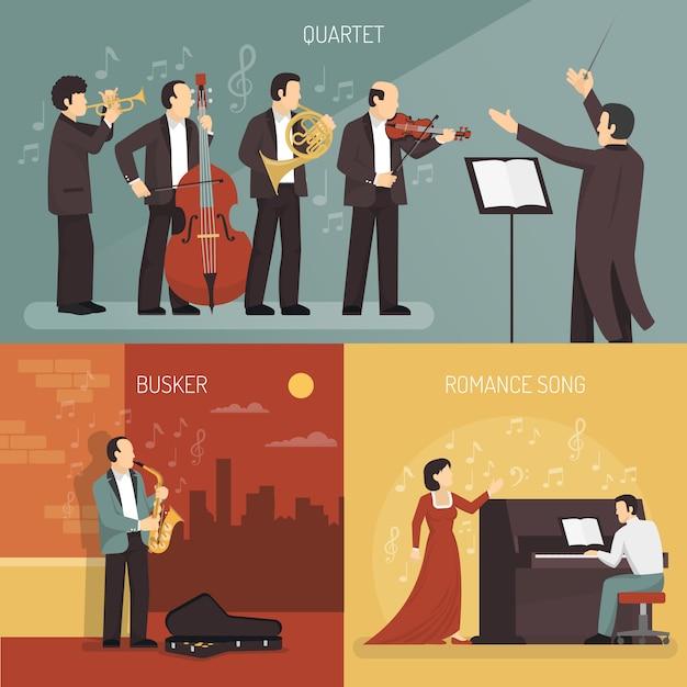 Conjunto de concepto de diseño de músicos vector gratuito