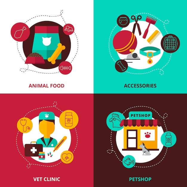 Conjunto de concepto de diseño veterinario de piensos y accesorios para animales veterinario clínica y tienda de mascotas composiciones vector plano ilustración vector gratuito