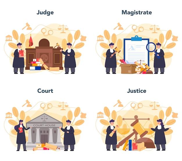 Conjunto de concepto de juez. los trabajadores judiciales defienden la justicia y la ley. juez con túnica negra tradicional. idea de juicio y castigo. Vector Premium