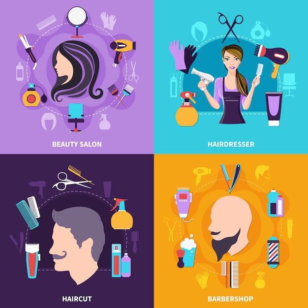 Conjunto de concepto de peluquería vector gratuito