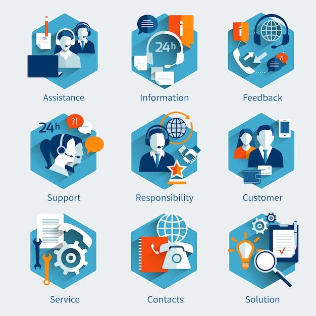 Conjunto de concepto de servicio al cliente vector gratuito