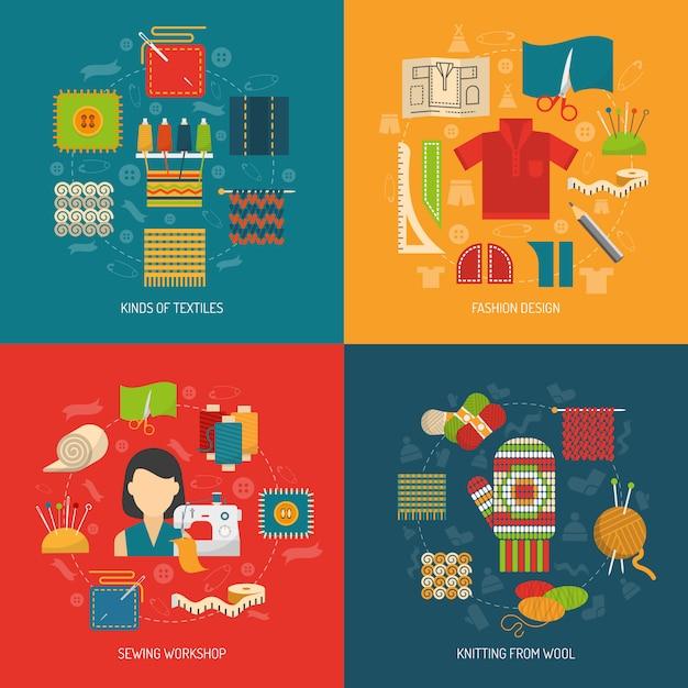 Conjunto de concepto de textil vector gratuito