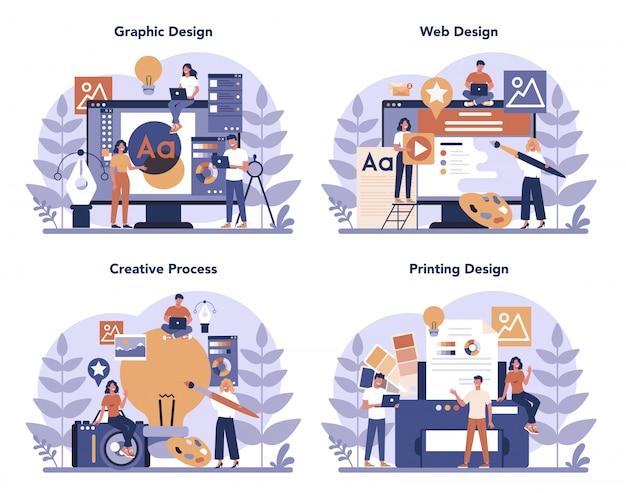Conjunto de conceptos diseño gráfico, web, impresión. dibujo digital Vector Premium
