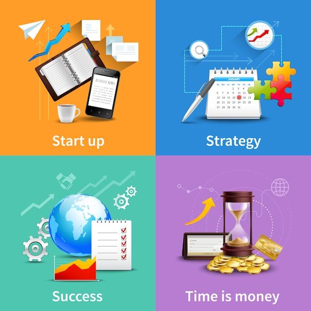 Conjunto de conceptos de diseño de negocios vector gratuito