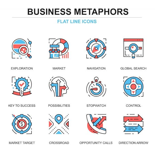 Conjunto de conceptos de iconos de proceso de negocio de línea plana Vector Premium