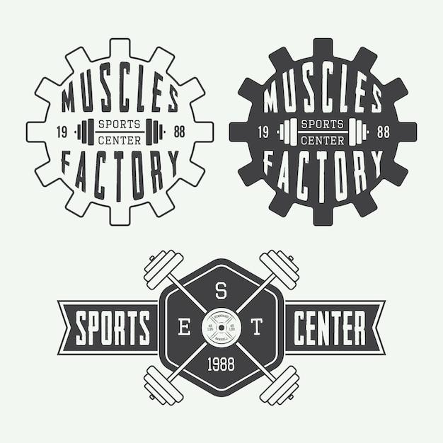 Conjunto de conjunto de logo de gimnasio Vector Premium