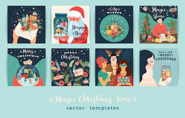 Conjunto de conjunto de tarjeta de ilustraciones de navidad y feliz año nuevo Vector Premium