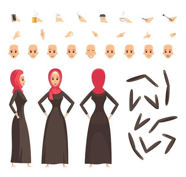 Conjunto de construcción de mujer árabe vector gratuito
