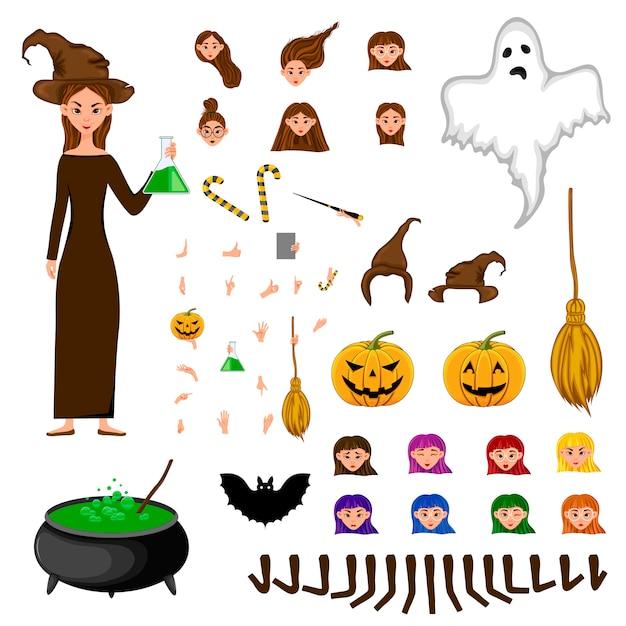 Conjunto de constructor de halloween de personajes femeninos. chica con atributos de vacaciones. Vector Premium