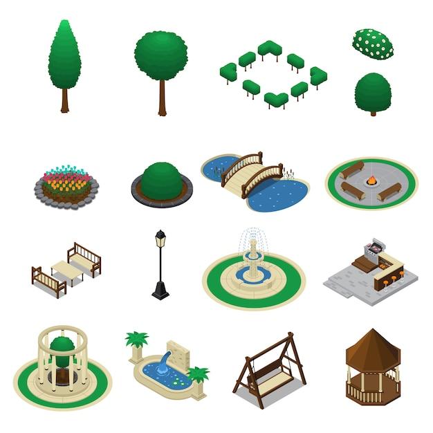 Conjunto de constructor de jardín de casa vector gratuito