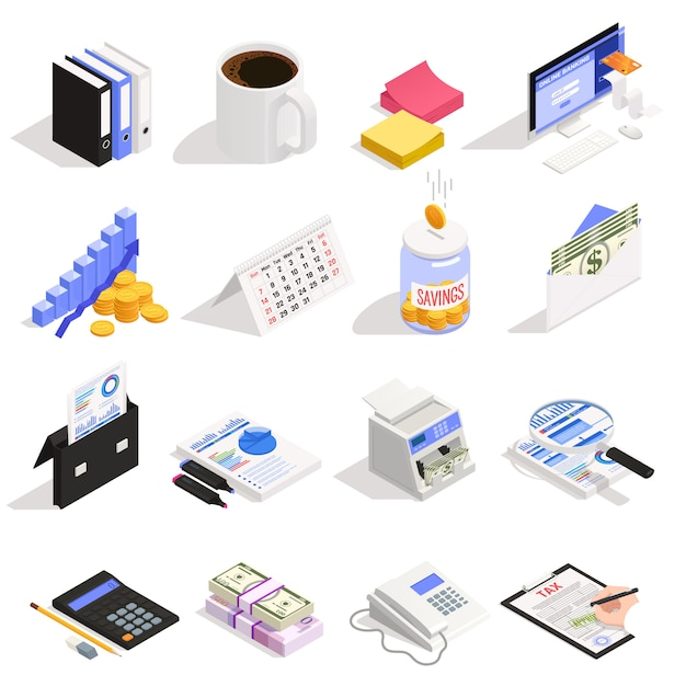 Conjunto de contabilidad de iconos isométricos con ahorro de dinero en línea, cálculo y documentación de impuestos bancarios vector gratuito