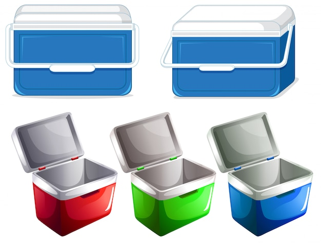 Conjunto de contenedor de caja de hielo vector gratuito
