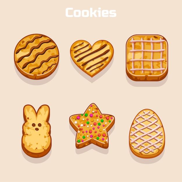 Conjunto de cookies en diferentes formas Vector Premium