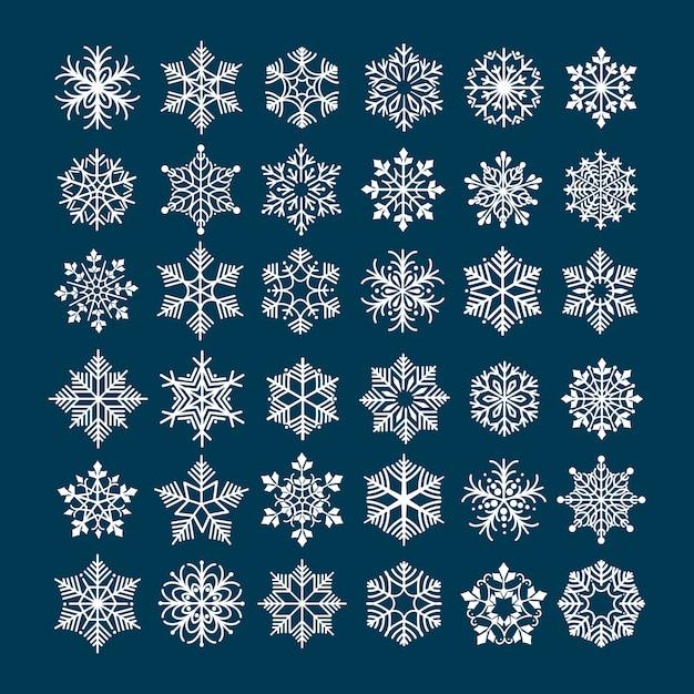Conjunto de copo de nieve Vector Premium