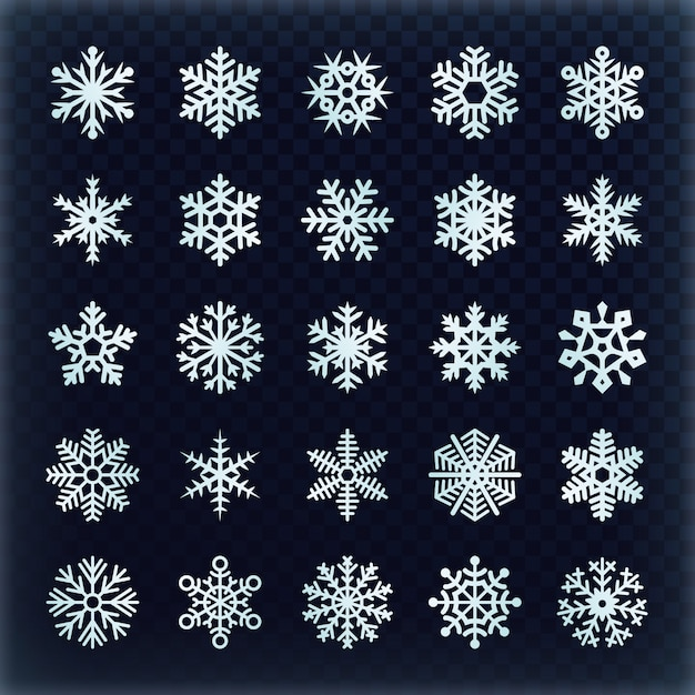 Conjunto De Copos De Nieve Vector Festivo Elementos De