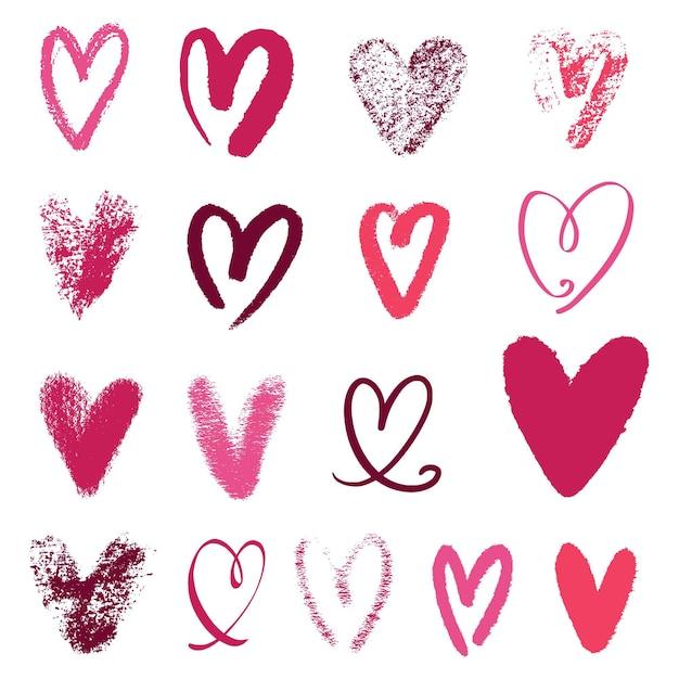 Conjunto de corazón dibujado a mano vector gratuito